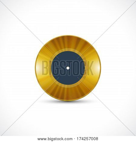 Vinyl disc 7 inch EP record with golden grooves
