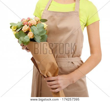 Woman florist holding flower bouquet isolated on white background