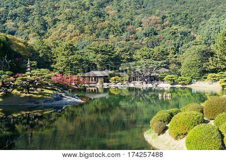 Japanese Kokoen Garden in Himeji