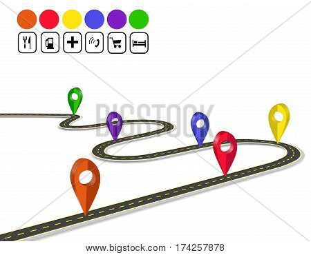 Infographics. 3d mark navigator. Winding road with markings. A perspective view. Vector illustration