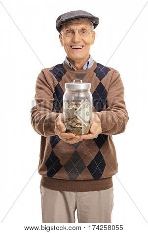 Cheerful senior with a jar filled with money isolated on white background
