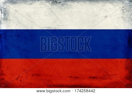Vintage national flag of Russia background textured