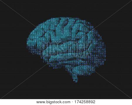 Green blue brain combine with digital infomation text on dark BG