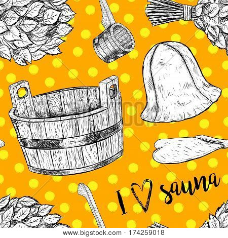 Seamless pattern items for sauna. Hand drawn vector set for bath. Retro set of sketches isolated. Basin ladle cap mitten broom in vintage style. Vector illustration.
