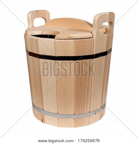 Empty isolated wooden tub for a bath on a white background