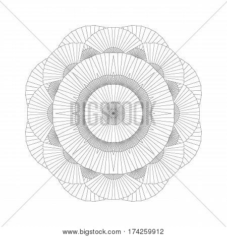 Abstract circle ornament made of open fans drawn in line art style. Vector oriental illustration isolated on white background. Coloring page design