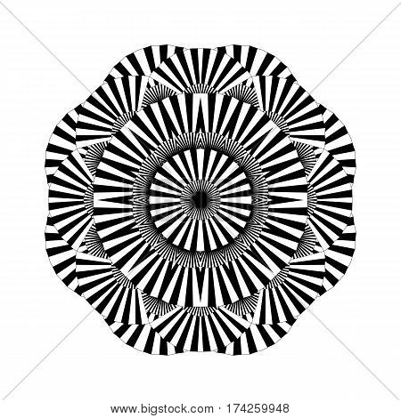 Abstract circle ornament made of striped open fans. Vector graphic illustration isolated on white background illustration. Blackwork tattoo art or coloring page design