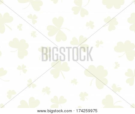 St Patrick's Day background with three leaves clover. Green on white color. The Symbol Of Ireland. The Irish pattern. St Patrick's Day background with three leaves clover. Green on white color. The Symbol Of Ireland. The Irish pattern. Vector seamless bac