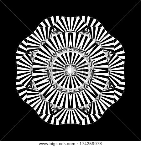 Abstract circle ornament made of striped open fans. Vector graphic illustration isolated on black background illustration. Blackwork tattoo art or coloring page design