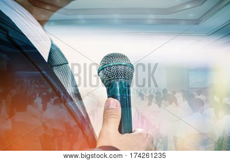 double exposure of professor speech and teaching with microphone keynote at meeting room conference hall in high school