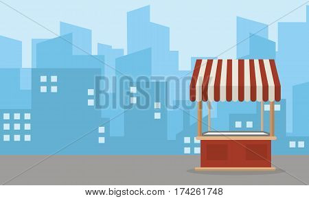 Landscape of street stall vector flat collection stock