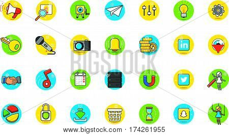 General application flat icons on white background, stock vector