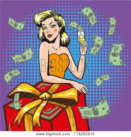 Vector illustration of beautiful young woman with glass of champagne, gift box and paper money around her. Woman throwing her money about. Retro pop art comic style.