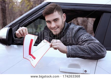 Young man tearing learner driver sign while looking out of car window