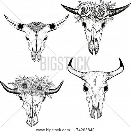 Hand drawn Buffalo Skull Native American Totem set