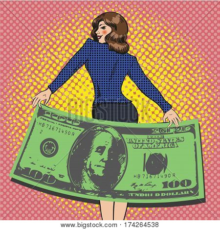 Vector illustration of rich business woman with a hundred dollar bill in retro pop art comic style.