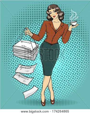 Vector illustration of business woman with cup of coffee in one hand and heap of documents agreements in another hand. Retro pop art comic style.