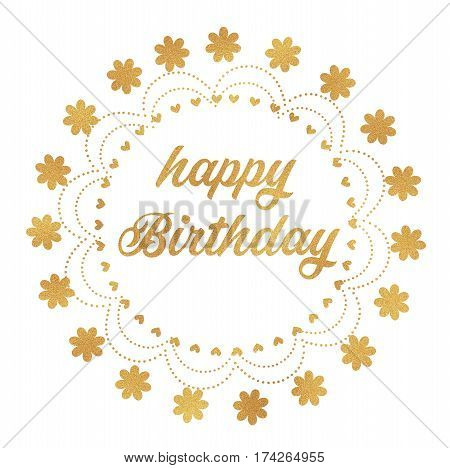 Happy Birthday in letterpress type in gold colour