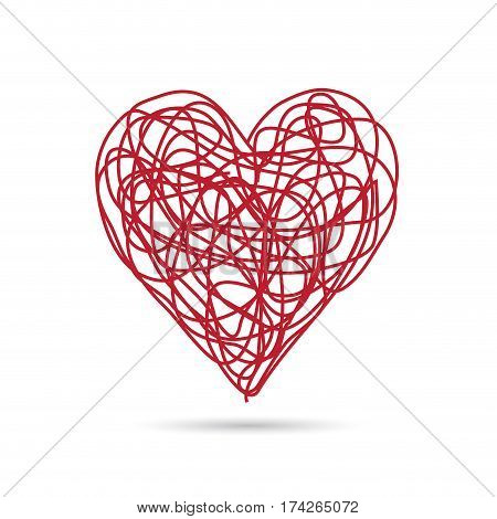 Vector sign scribble of red heart on white background