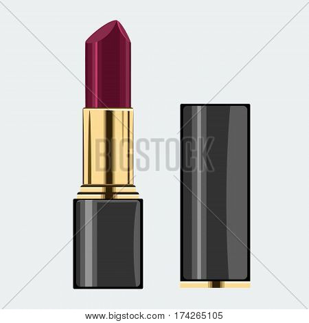 Colorful lipstick model with cap. Mock up with flat and solid color design. Illustrated vector