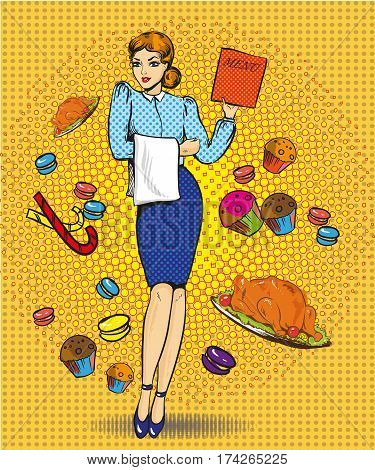 Vector illustration of beautiful woman with menu. Waitress character, sweets, pastry, roasted turkey in retro pop art comic style.