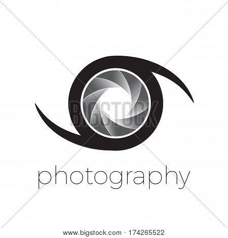 Vector icon diaphragm and eye photography concept