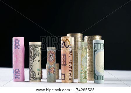 One hundred US dollar and other currency rolled bills banknote with stacked coins on black background. Exange rates concept