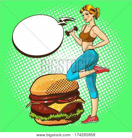 Vector illustration of young woman exercising with dumbbell. Fitness girl, giving preference to healthy life, speech bubble, retro pop art comic style.