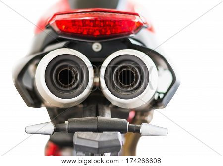 motorcycle's exhaust pipe protect shield isolated on white