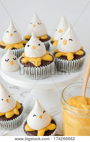 Easter Chick Lemon Chocolate Cupcakes