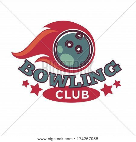 Bowling tournament poster or logo vector template of ball for sport game contest