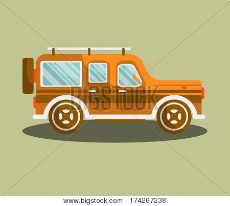 Camper bus or camping van vector flat isolated icon. Motorhome car or vehicle for holiday trip or vintage or modern coach