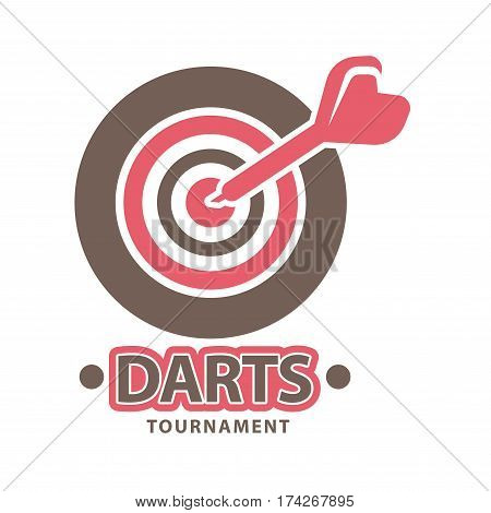 Darts championship logo template. Vector icon for dart sport game contest