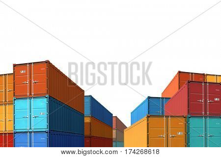 export import cargo containers bulk isolated 3d illustration