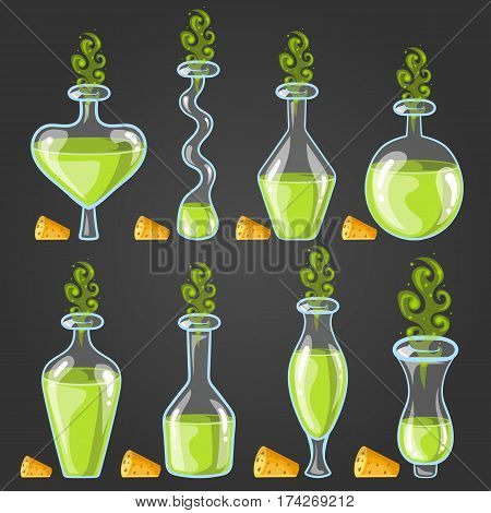Set bottles of potion with magic smoke. Game design illustration