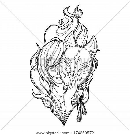 Smiling asian girl hiding her face under the japanese deamon fox mask with fire flame on background. Coloring book page design for adults and kids
