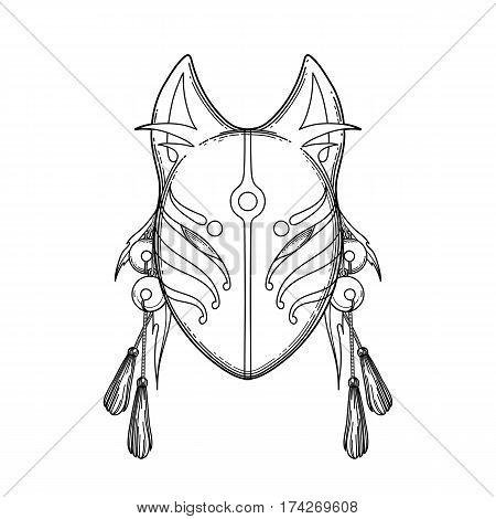 Graphic mask of japanese demon kitsune isolated on white background. Translation of the hieroglyph - fox. Coloring book page design for adults and kids