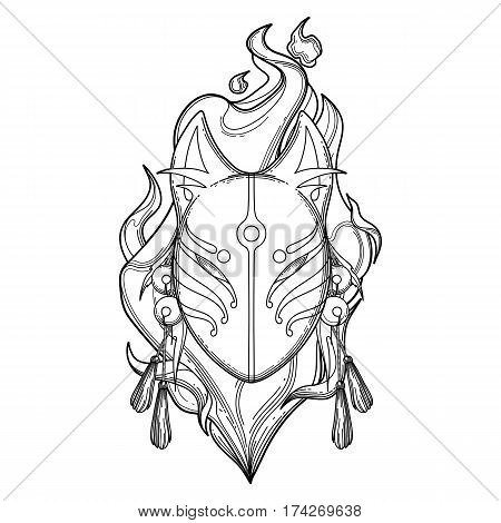 Graphic demon fox mask with fire flame on background. Traditional attribute of japanese folklore. Coloring book page design for adults and kids