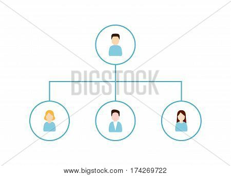 Scheme of relationship between employees. Assignment tasks concept flat vector illustration. Delegating and Organization Structure icon.