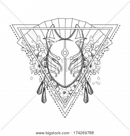 Graphic mask of japanese demon kitsune isolated on white background. Traditional attribute of asian folklore. Translation of the hieroglyph - fox. Coloring book page design for adults and kids
