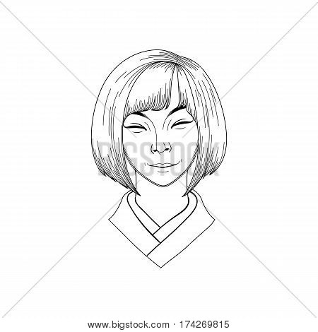 Portret of cute smiling asian girl isolated on white background. Coloring book page design for adults and kids