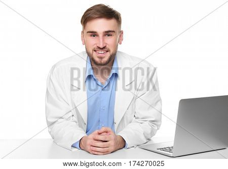 Handsome doctor on white background