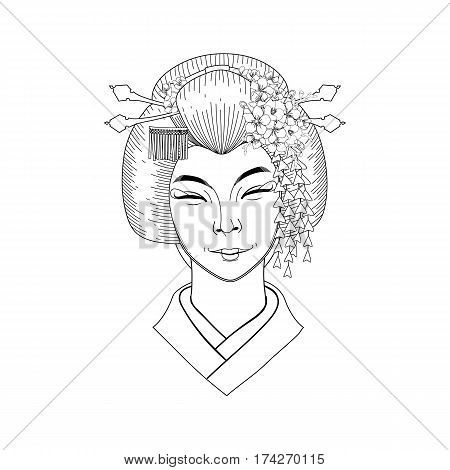 Portret of cute smiling asian girl with traditional japanese hairstyle. Coloring book page design for adults and kids
