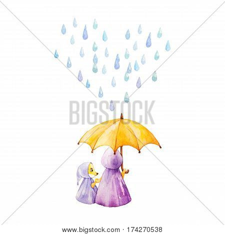 Watercolor illustration. Foxes in rainy weather under the umbrella. Mother and daugther. Heart from raindrops.