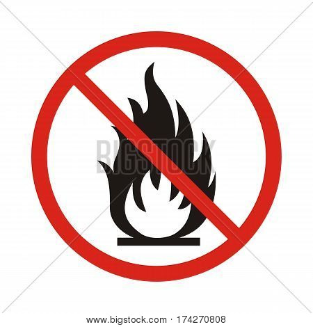 No Fire sign. Prohibition open flame symbol. Red icon on white background. Vector