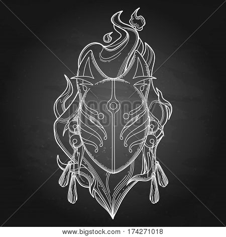 Graphic demon fox mask drawn in line art style with fire flame on background. Traditional attribute of japanese folklore