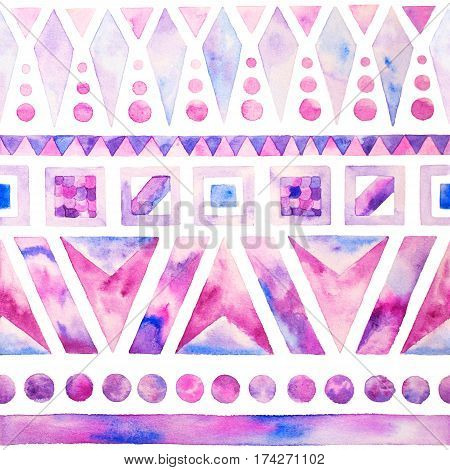 Abstract hand painted geometric watercolour seamless pattern