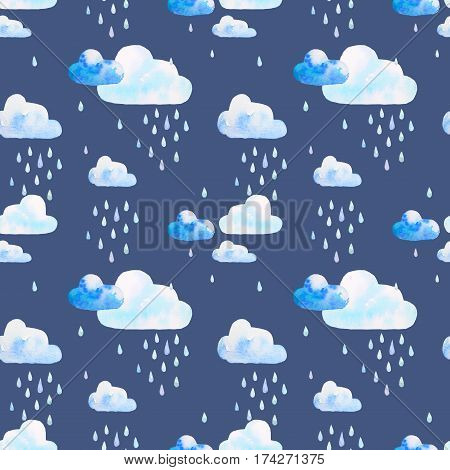 Watercolor seamless pattern. Clouds in the rainy weather