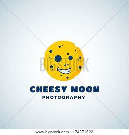 Cheese Moon Photography Abstract Vector Sign, Emblem or Logo Template. Round Laughing Lunar Face Silhouette. Isolated.
