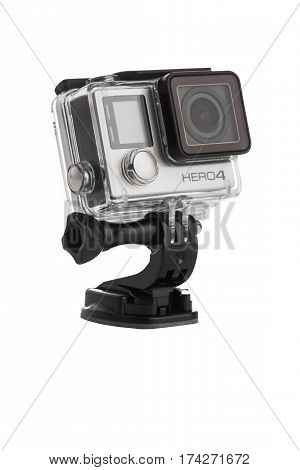 Varna, Bulgaria - January 8, 2017: Gopro Hero 4 Black Edition Isolated On White Background.manufactu